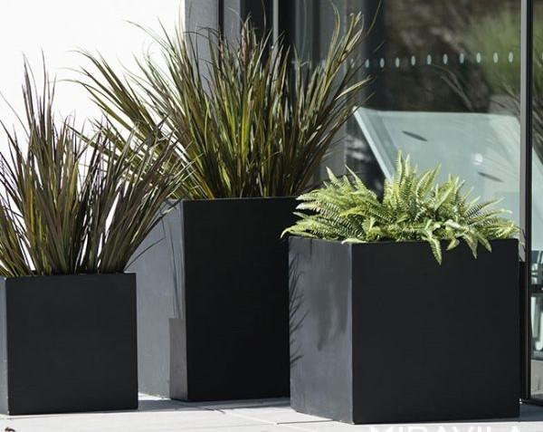 Vasi di cemento in nero